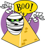 Mummy Popping Out From Behind A Pyramid And Screaming Boo — Stock Vector