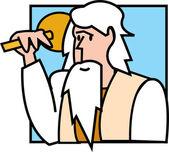 Witte haren man, noah, die een object — Stockvector