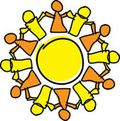 Circle of orange and yellow holding hands, symbolizing teamwork and support — Stock Vector