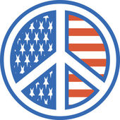American Peace Symbol With Stars And Stripes — Stock Vector