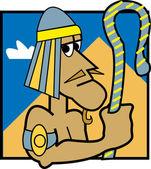 ägyptischen pharaos hält einen stab und in der nähe einer pyramide — Stockvektor