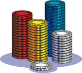 Stacks Of Red, Yellow, Blue And White Poker Chips In A Casino — Stock Vector