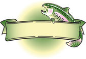 Blank Rainbow Trout Banner Over Green — Stock Vector