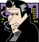 Handsom Rebellious Man Smoking A Cigarette — Stock Vector