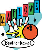 Marlows Bowl O Rama Sign — Stock Vector