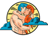 Romantic Young Nude Couple Passionately Embracing — Stock Vector