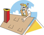 Blond Male Roofer On A Ladder, Patching A Roof — Stock Vector