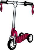 Child's Scooter With Ribbons On The Handle Bars — Stock Vector