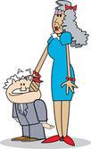 Hoge en slanke senior vrouw klopte haar korte echtgenoten hoofd — Stockvector