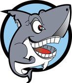 Grinning Shark Showing Its Teeth — Stock Vector