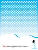 Schneemann im schnee auf einem winter — Stockvektor