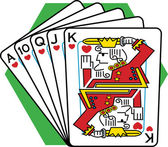 Straight Flush Of Playing Cards — Stock Vector