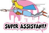 Assistente de super mulher lond em uma capa azul e vestido — Vetorial Stock