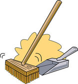 Push Broom And Dustpan — Stock Vector