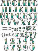 Tattoo Alphabet and Symbols — Stock Vector