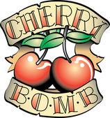Cherry Bomb Banner And Fruit Tattoo Design — Stock vektor