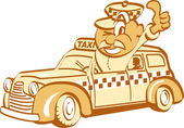 Retro Thumbs Up Taxi Driver Man — Stock Vector