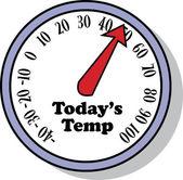 Termómetro muestra la temperatura durante el día — Vector de stock