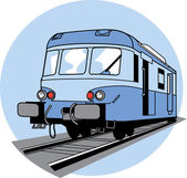 Blue Train on Tracks — Stock Vector