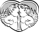 Two Black And White Victorian Cherubs — Stockvector