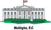 The White House Building In Washington DC — Stock Vector