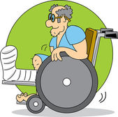 Elderly Man with a Cast on His Leg In a Wheelchair — Stock Vector