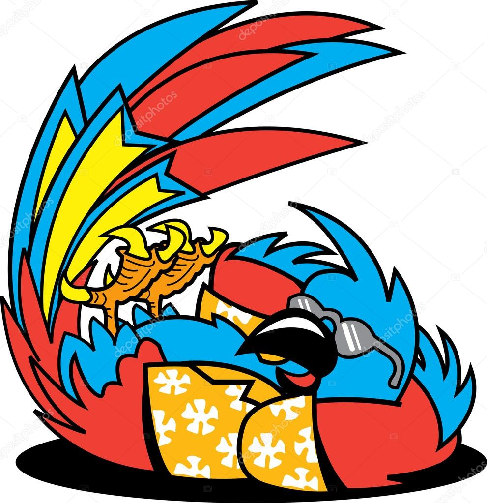 Rilassante pappagallo ara in una camicia hawaiana e for Piani di piantagione hawaiana