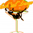 Vintage style cocktail lounge sign with a sexy pinup girl - Stock Vector