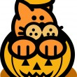 Royalty-Free Stock Vector Image: Orange Cat Inside A Halloween Pumpkin