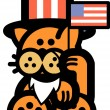 Orange Cat Wearing A Fake White Beard And An American Hat — Stock Vector