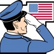 Stock Vector: Officer Saluting the American Flag