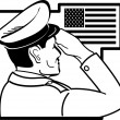 Stock Vector: Officer Saluting AmericFlag