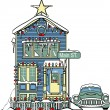 House with Christmas ligh — Stockvectorbeeld