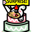 Stock Vector: Dog birthday holiday surprise