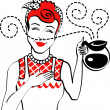 Red haired housewife holding a coffee pot — Stock Vector