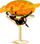 Vintage style cocktail lounge sign with a sexy pinup girl — Stock Vector