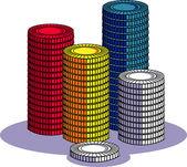 Stacks of Cartoon Poker Chips — Stock Vector