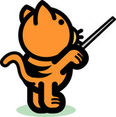 Orange Cat Points Something — Stock Vector