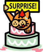 Ginger Cat Holding A Surprise Sign And Popping Out Of A Birthday Cake — Stock Vector