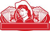 Cowgirl bonita com uma verruga — Vetorial Stock