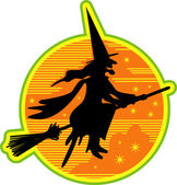 Ugly witch riding on a broomstick — Stock Vector
