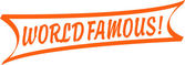 Vintage orange World Famous banner sign — Stock Vector