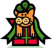 Gato laranja, preso em um laço de fita verde em um presente de Natal — Vetor de Stock