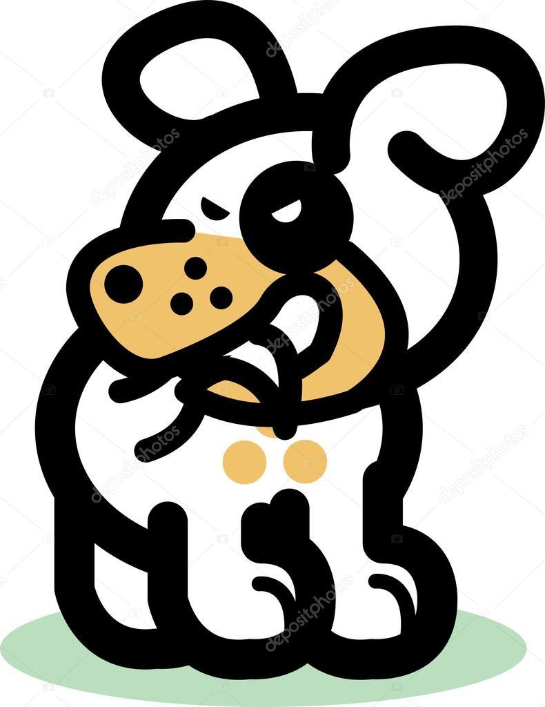 狗咬尾巴的卡通 — 矢量图片作者
