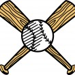 Постер, плакат: White baseball over two wooden baseball bats
