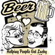 Pretty woman and handsom man with beer - Imagens vectoriais em stock