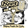 Pretty woman and handsom man with beer - Imagen vectorial