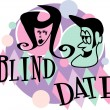 Man and woman grinning at eachother while on a blind date - Stock Vector