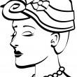 Royalty-Free Stock Imagen vectorial: Pretty young woman wearing a hat with flowers and a pearl necklace