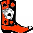 Black and red cowboy boot with playing cards and silhouettes of a spade, club, diamond and heart - Stock Vector